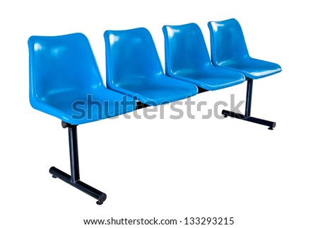 Blue plastic chairs isolated on white background - stock photo