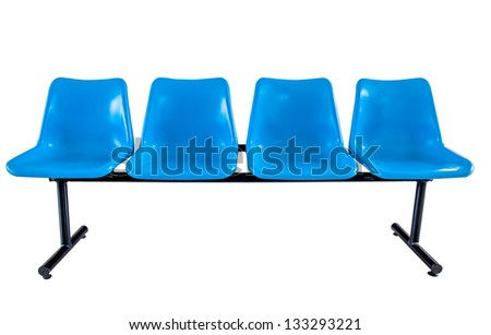 Blue plastic chairs isolated on white background