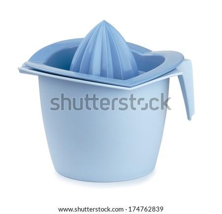Blue plastic citrus squeezer isolated on white - stock photo