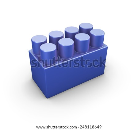 Blue plastic construction element of the children designer isolated on white background