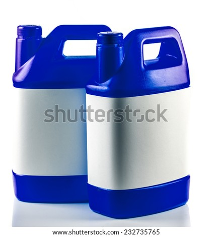 Blue plastic container isolated on a white background. - stock photo