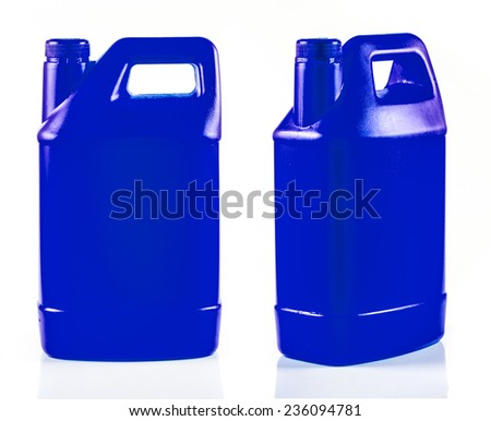 Blue plastic container isolated on a white background.