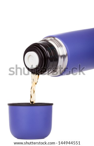 Blue plastic covered metal thermos isolated on a white background - stock photo