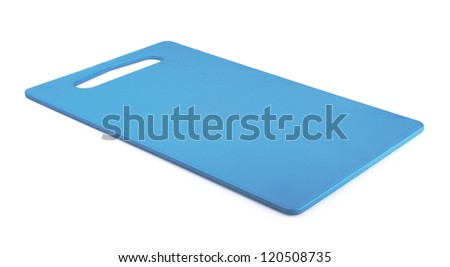 Blue plastic cutting board isolated on white - stock photo