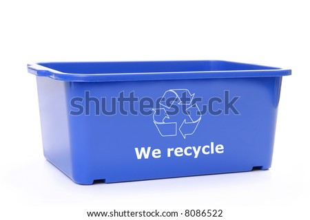 Blue plastic disposal bin with white recycle symbol - over white background - stock photo