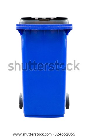 Blue plastic dust bin isolated on white background.
