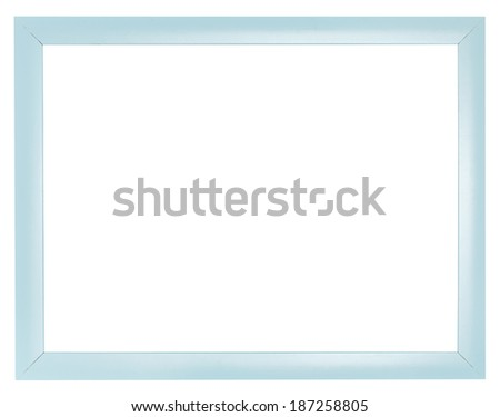 blue plastic flat simple picture frame with cut out canvas isolated on white background - stock photo