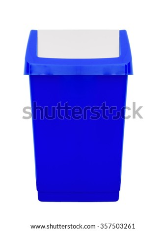 Blue plastic flip top aka swing top bin, domestic or household use. Isolated on white. - stock photo