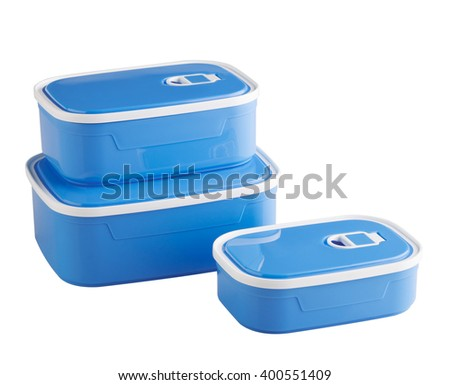 blue plastic food boxes isolated on white background - stock photo