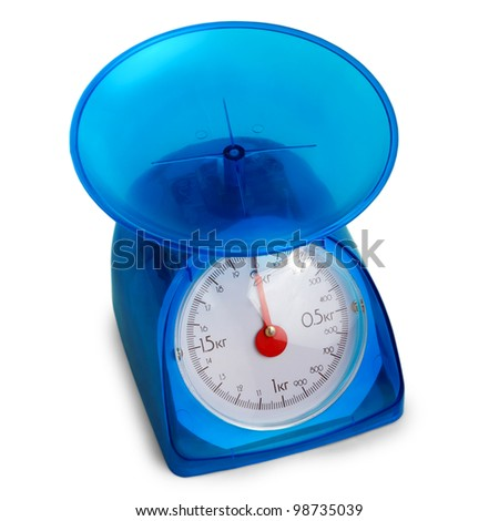 blue plastic kitchen scales isolated