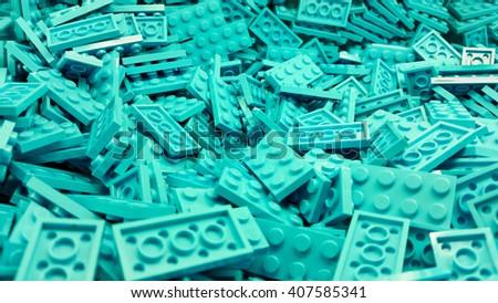 Blue plastic Lego blocks - stock photo
