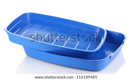 Blue plastic litter cat isolated on white - stock photo