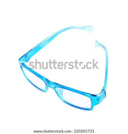 Blue plastic pair of glasses isolated over the white background - stock photo