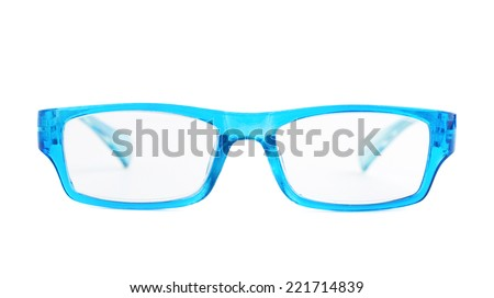 Blue plastic pair of glasses isolated over the white background, front view composition - stock photo