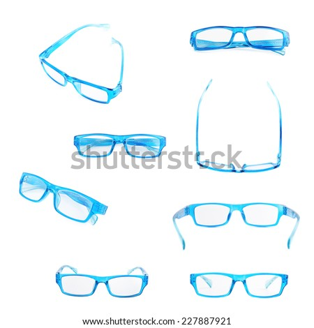 Blue plastic pair of glasses isolated over the white background, set of eight different foreshortenings - stock photo