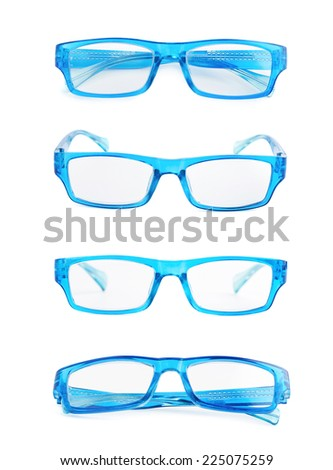 Blue plastic pair of glasses isolated over the white background, set of four foreshortenings - stock photo
