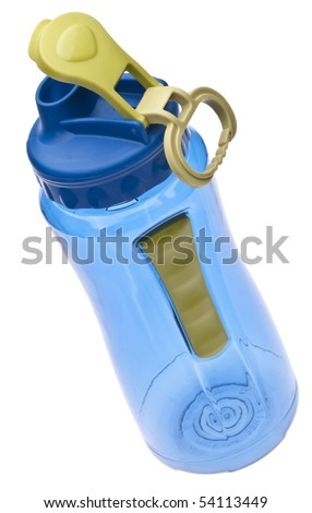 Blue Plastic Reusable Water Bottle Isolated on White. - stock photo