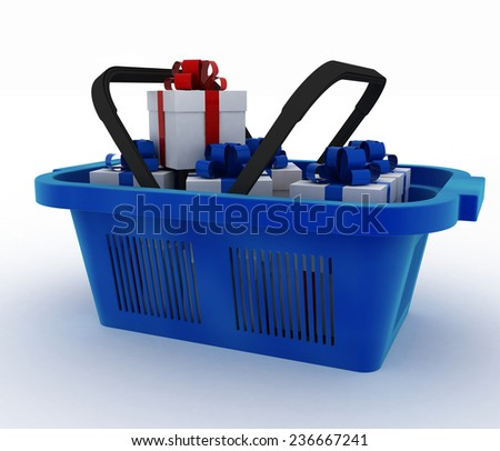 Blue plastic shopping basket with boxes of gifts. 3d render illustration on white background  - stock photo