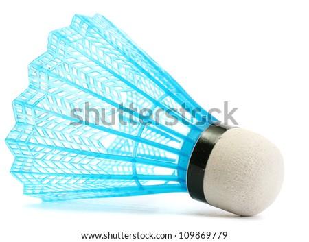 blue plastic shuttlecock isolated on white - stock photo