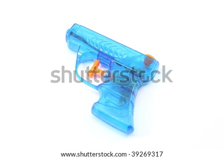 Blue plastic toy squirt gun - stock photo