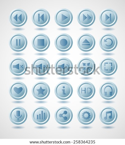 Blue plastic vector navigation buttons