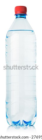 blue plastic water bottle with red cap isolated on white. clipping path - stock photo