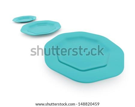 Blue plates isolated on white background - stock photo