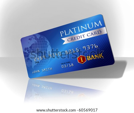 Blue platinum credit card - stock photo