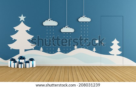 Blue playroom with christmas decoration on wall - rendering - stock photo