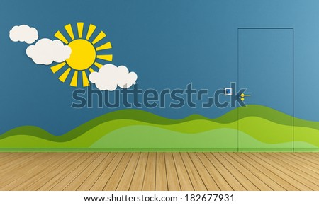 Blue playroom with closed door, sun and hill on wall - rendering - stock photo
