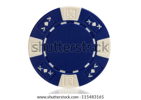 blue poker chips on white - stock photo