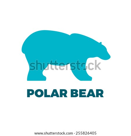 Blue polar bear icon - stock photo
