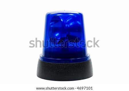 blue police light isolated on white background - stock photo
