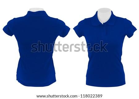 blue polo shirt on white background - stock photo
