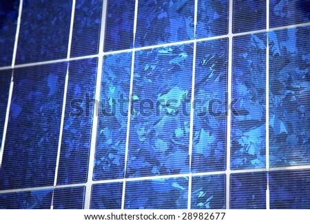Blue polycrystalline solar panel - stock photo