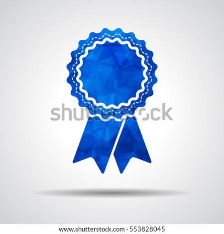 blue polygonal badge with ribbons icon on a gray background