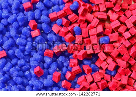 blue polymer rein for injection moulding process - stock photo