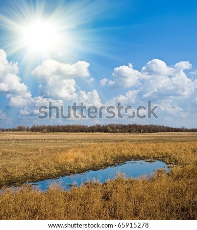blue pond in a dry steppe under a sun - stock photo