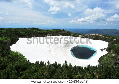 Blue pond in famous mountain, volcano, north of Japan - stock photo