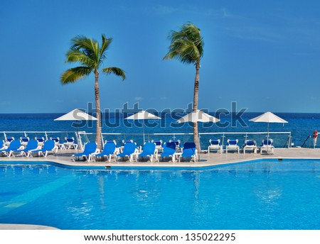 blue pool and ocean and palm trees - stock photo