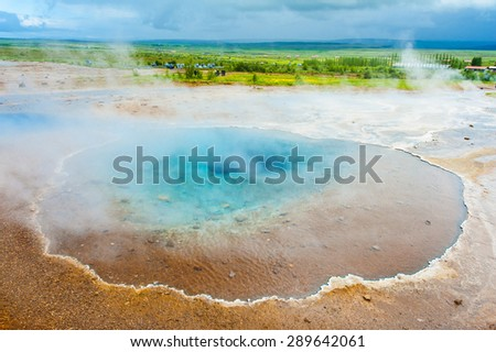 Blue pool Blesi at Haukadalur geothermal field, Iceland - stock photo