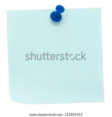 Blue post-it note pinned on a pure white background. Waiting for your message. - stock photo