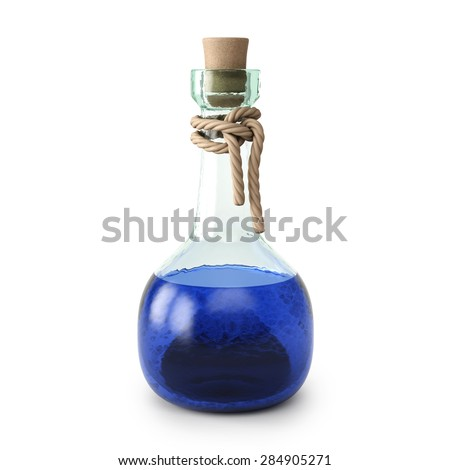 blue potion in the bottle. isolated on white background. - stock photo