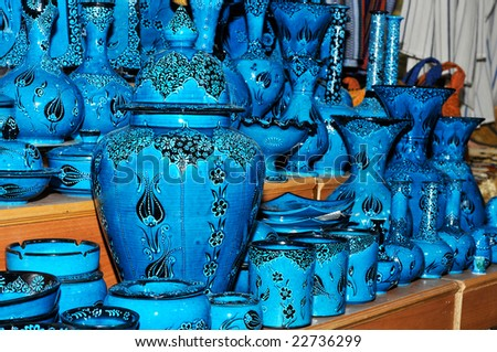 Blue pots in display of a shop - stock photo