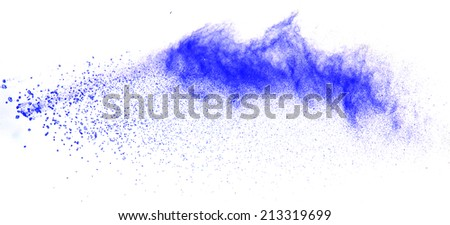 Blue powder explosion isolated on white - stock photo