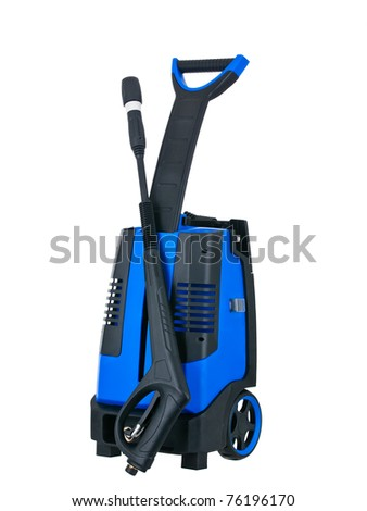 Blue pressure portable washer front view on pure white background - stock photo