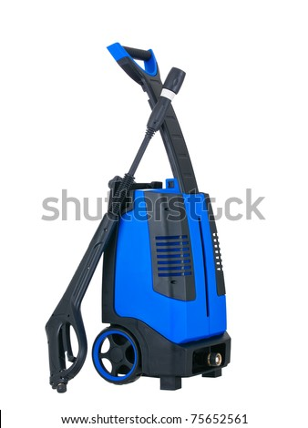 Blue pressure portable washer side view on pure white background - stock photo