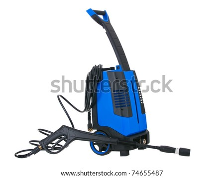 Blue pressure portable washer with hose on pure white background - stock photo