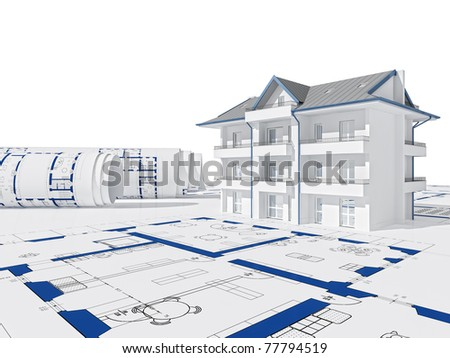 blue print and 3d house background - stock photo