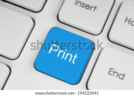 Blue print button on white keyboard background